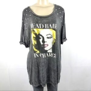 Tops - MARILYN MONROE Head Babe In Charge Shirt Plus 1X